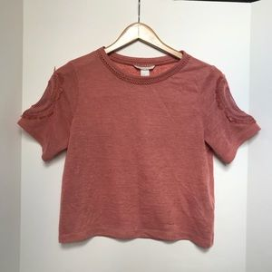 H&M XS Dusty Pink Crop Top With Detailed Sleeve